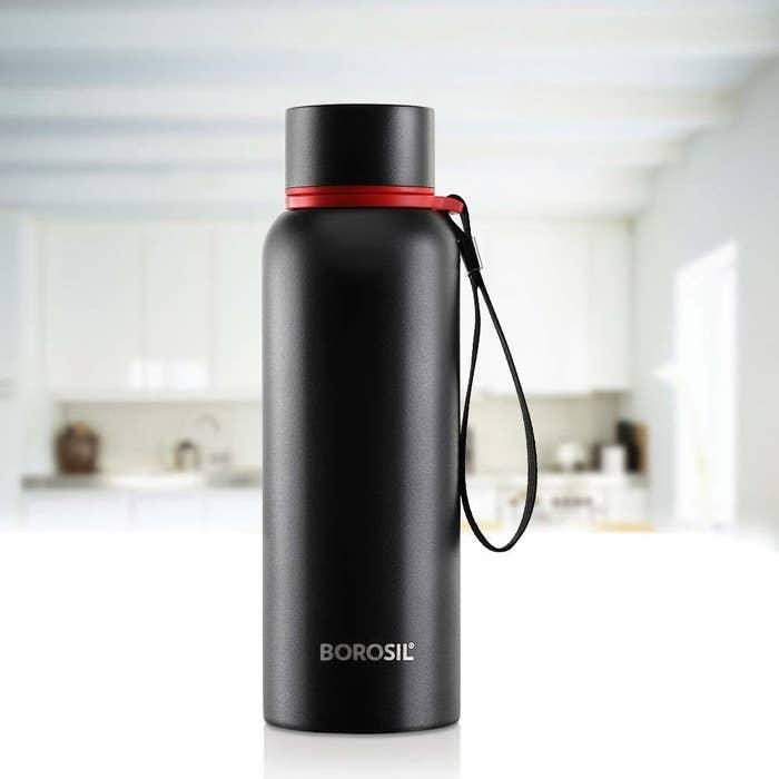 A black flask