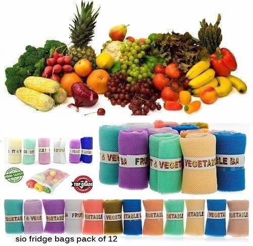 Multi-coloured fridge mesh bags.