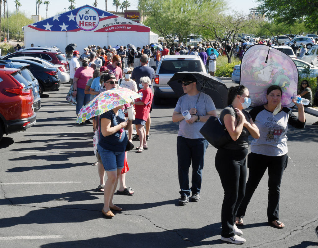 A line of voters in Clark County, Nevada