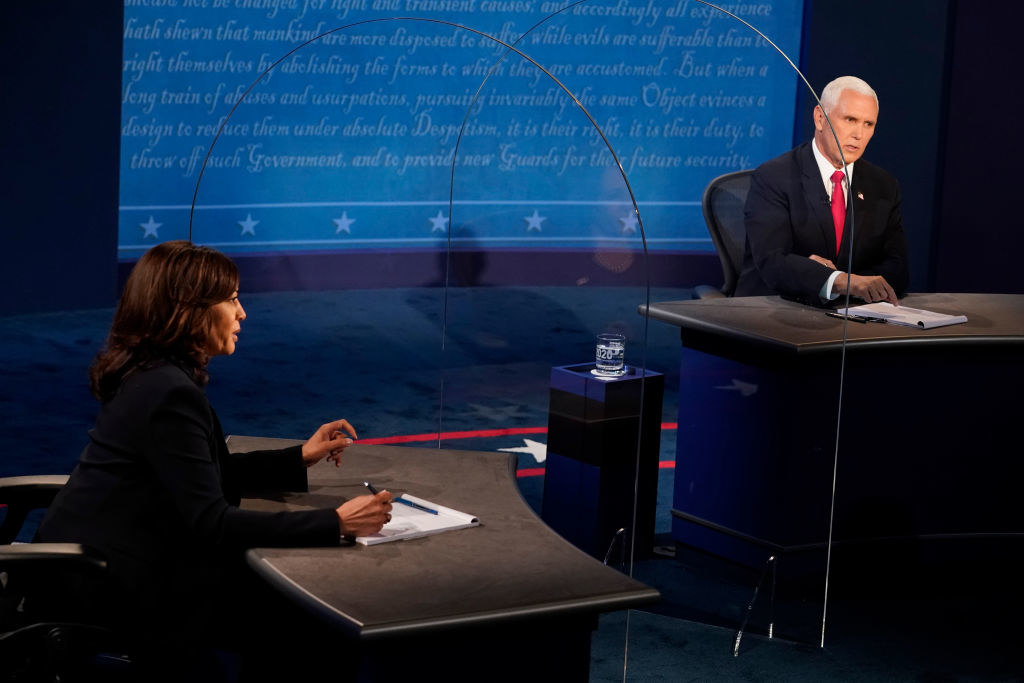 Senator Kamala Harris and Vice President Mike Pence at the 2020 Vice Presidential debate