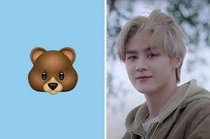 An image of Kun next to a bear emoji