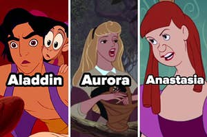 Side-by-side images of Aladdin, Aurora, and Anastasia with names under them