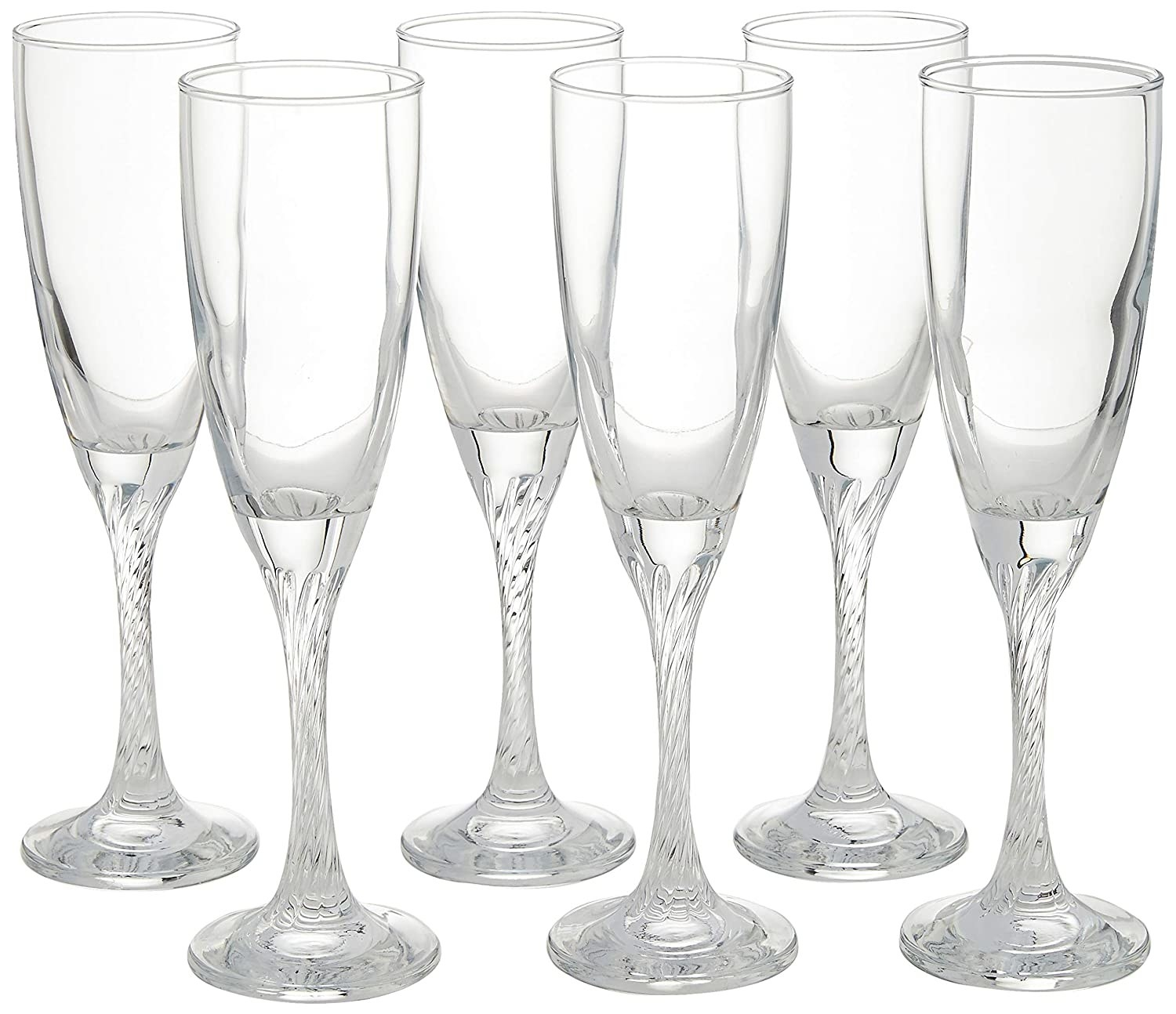 A set of champagne flute glasses