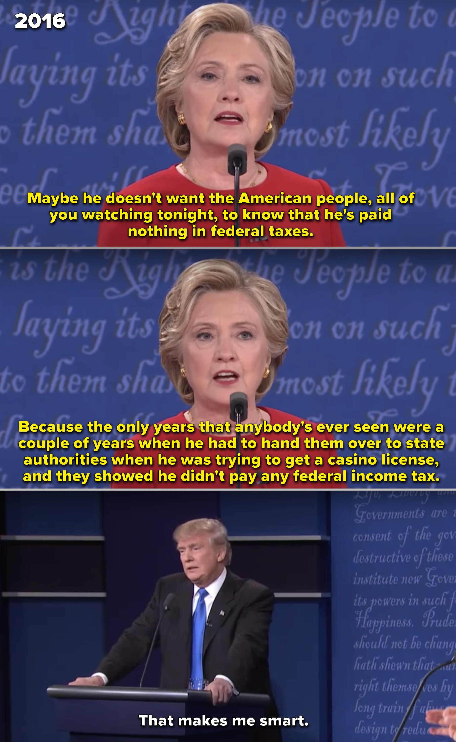 """Trump claiming he's """"smart"""" for not paying any income taxes during his debate with Hillary Clinton in 2016"""