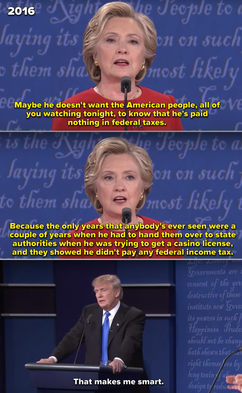 """特朗普称自己""""聪明""""因为他在2016年与希拉里·克林顿的辩论中没有缴纳任何所得税"""