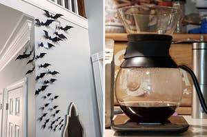 on the left a reviewer photo of decorative bats and on right reviewer photo of fancy coffee maker