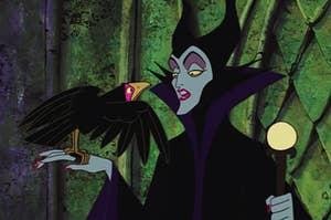 Maleficent holding her bird Diablo