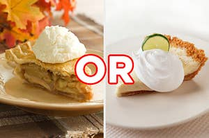 """On the left, a slice of apple pie with vanilla ice cream on top, and on the right, a slice of key lime pie with whipped cream on top with """"or"""" typed in between the two images"""