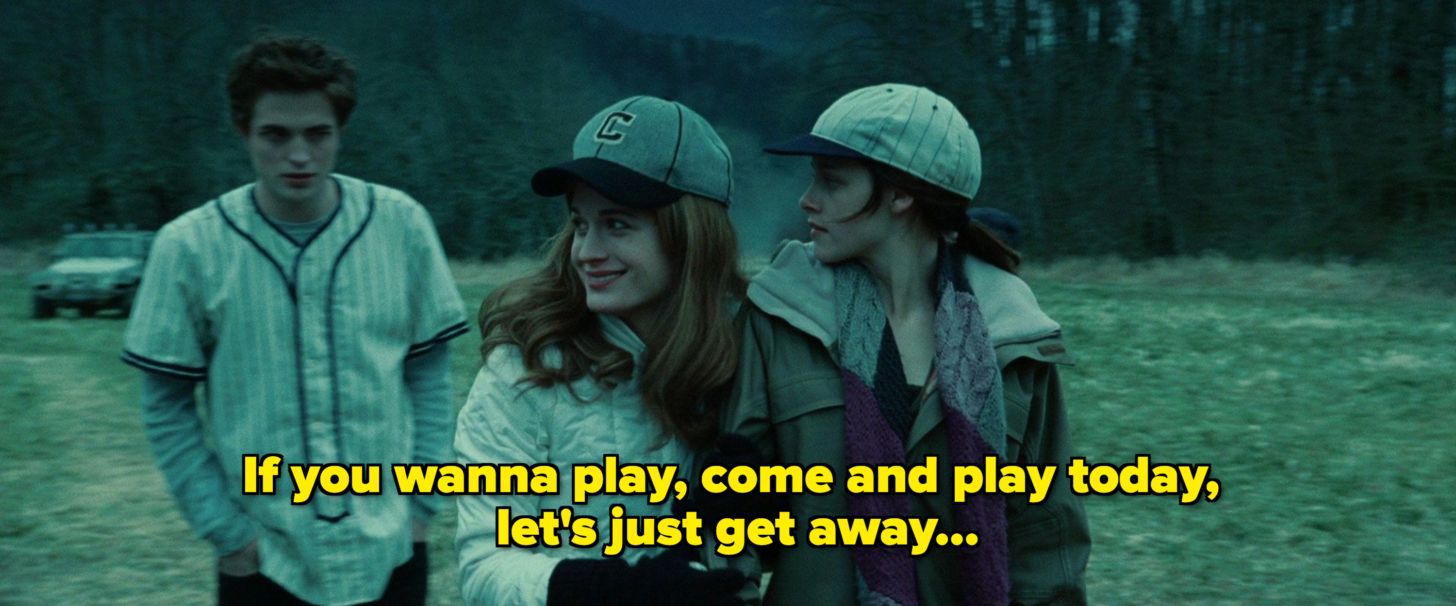 """A picture of the baseball scene from twilight with the caption: """"If you wanna play, come and play today, let's just get away"""