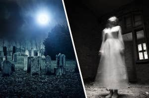 a graveyard and a ghost