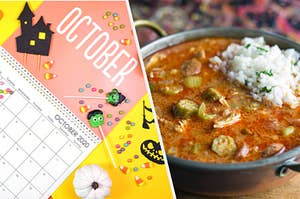 An October calendar is on the left covered in candy with a bowl of gumbo on the right