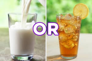 On the left, a glass of milk, and on the right, a glass of iced tea with a lemon on the side with