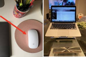 A wireless mouse and a laptop on an adjustable stand