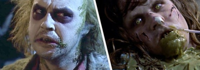 Beetlejuice and Regan from the Exorcist looking spooky