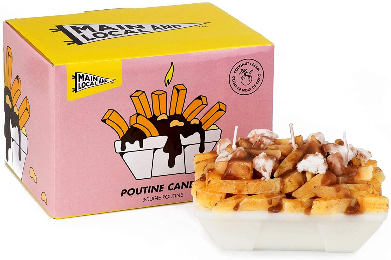 A small candle in the shape of a box filled with poutine