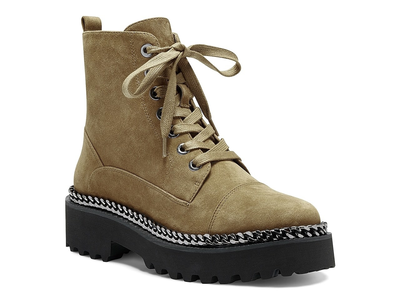 the green lace-up boots with a black platform bottom
