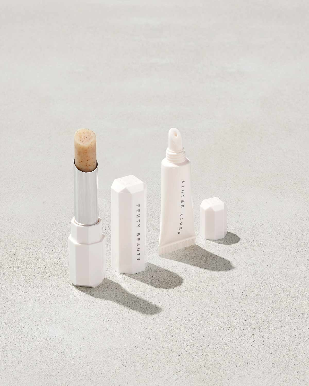 Lip scrub and lip balm in tubes