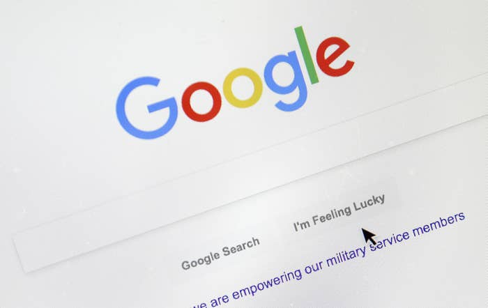 A cursor moves over Google's search engine page