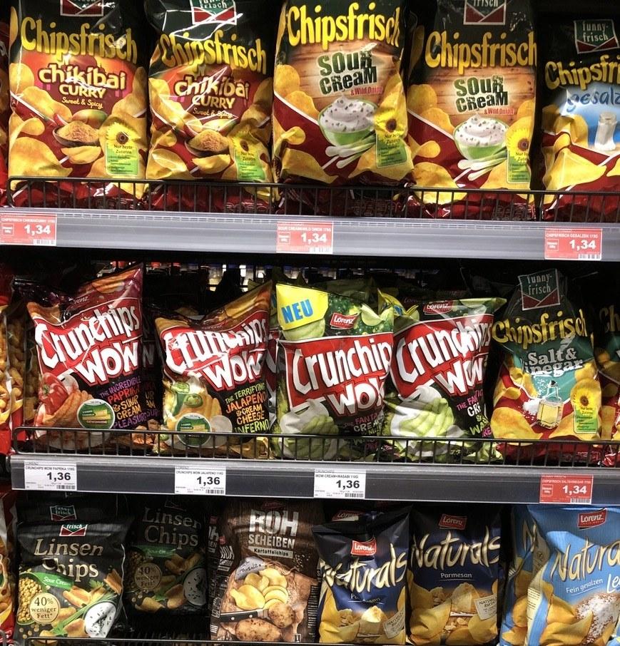 Aisles of sad snacks with bland flavors like 'salt & vinegar'