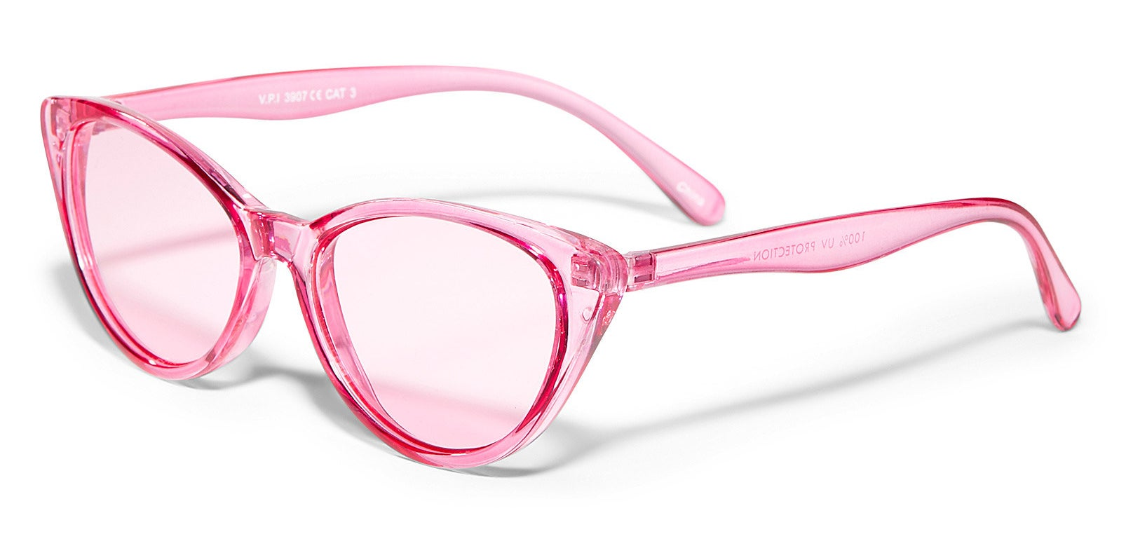 A pair of cat-eye shaped sunglasses