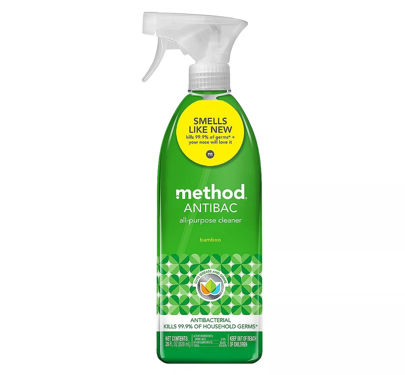 A 28-oz spray bottle of Method Antibacterial All-Purpose Cleaner which kills 99.9% of household germs
