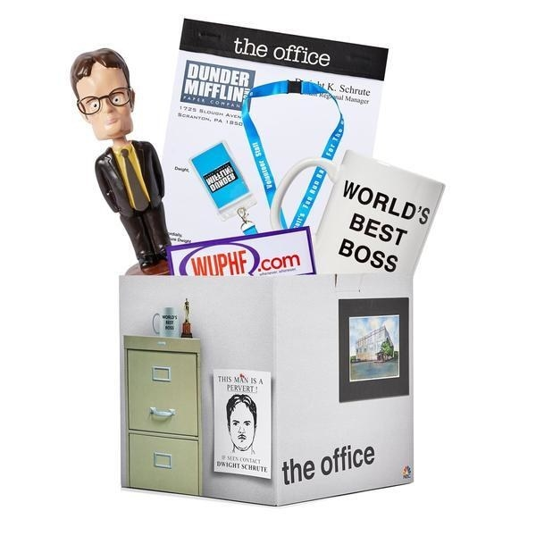 Gift box decorated to look like scenes from The Office with products inside