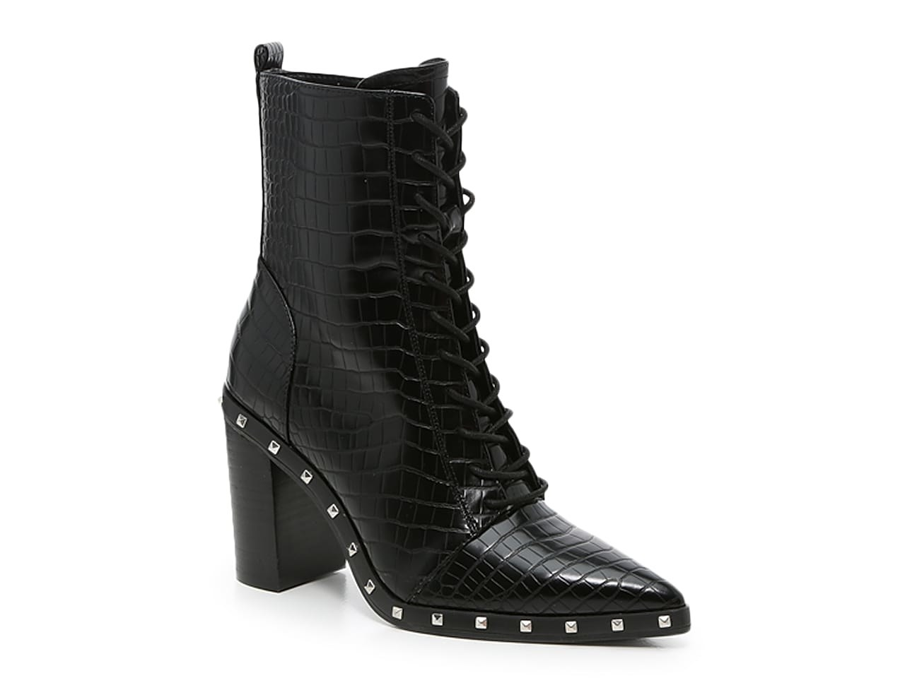 the black boots lace-up boots with rhinestone detailing