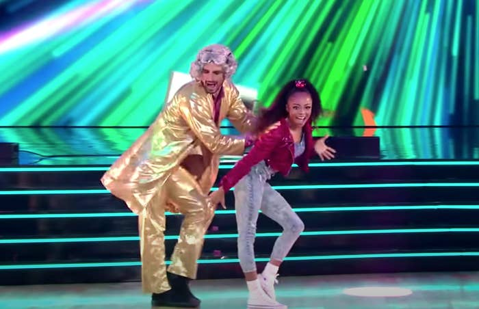 "Skai Jackson and Alan Bersten dance a jazz number on ""Dancing With The Stars"""