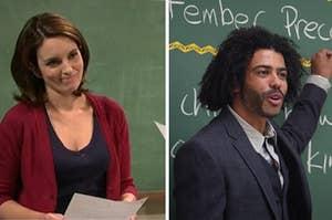 Tina Fey and Daveed Diggs as teachers