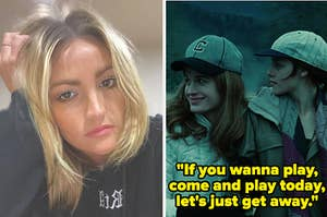 Jamie Lynn Spears side by side with bella and esme in the baseball scene in twilight with zoey 101 lyrics as a caption