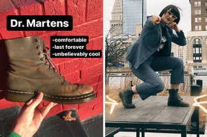 """on the left the writer holding a grey boot captioned """"Dr. martens, comfortable, last forever, unbelievably cool,"""" on the right the writer wearing the boots"""