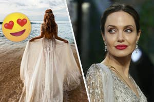 A bride in a gown is on the beach with a heart emoji on the left and Angelina Jolie on the right