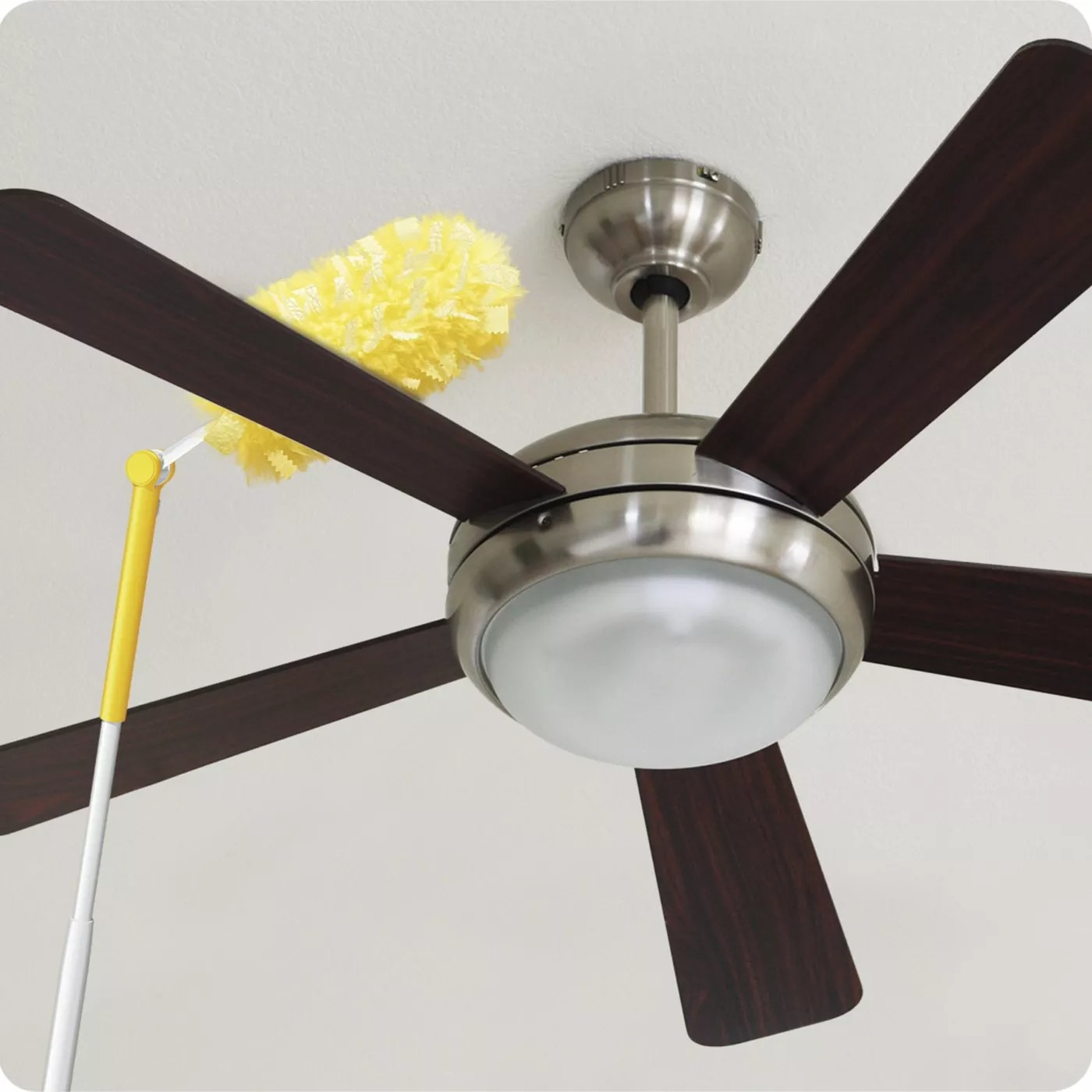 The duster extended and angled to clean a ceiling fan