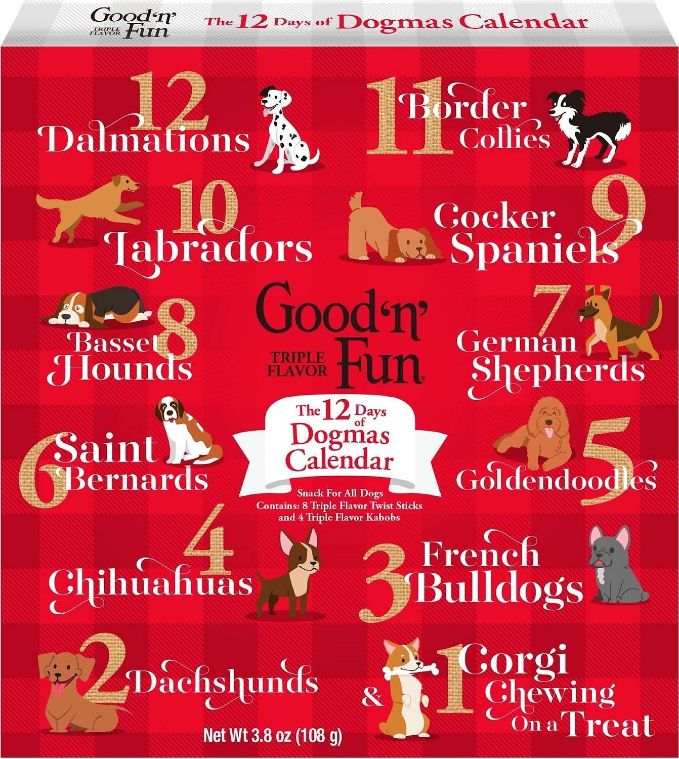 a red advent calendar with a countdown to christmas featuring different dog breeds
