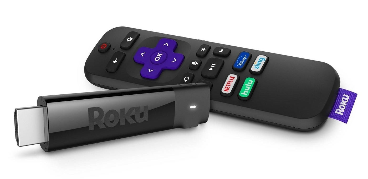 roku stick and a remote on a white background