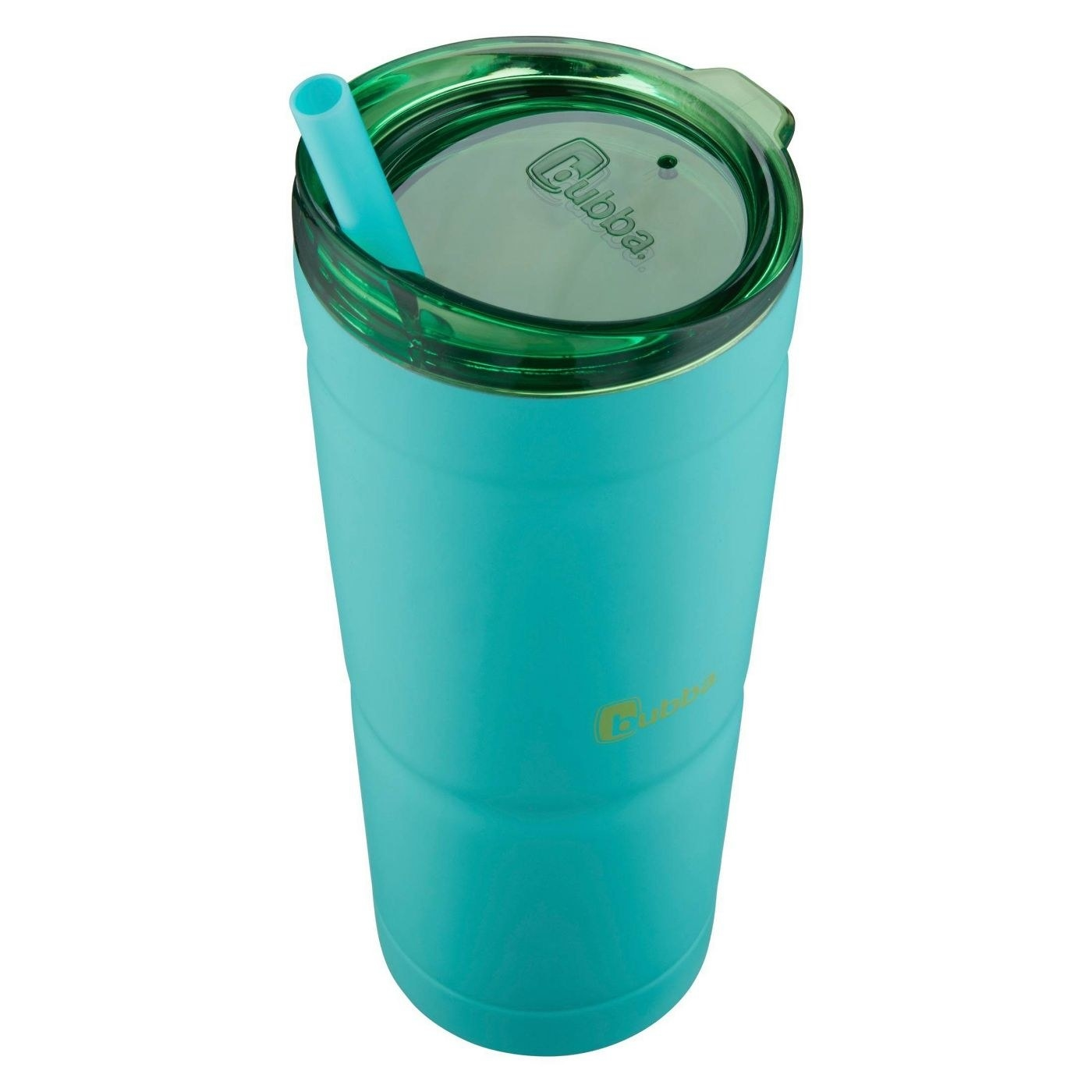 blue stainless steel water bottle with straw