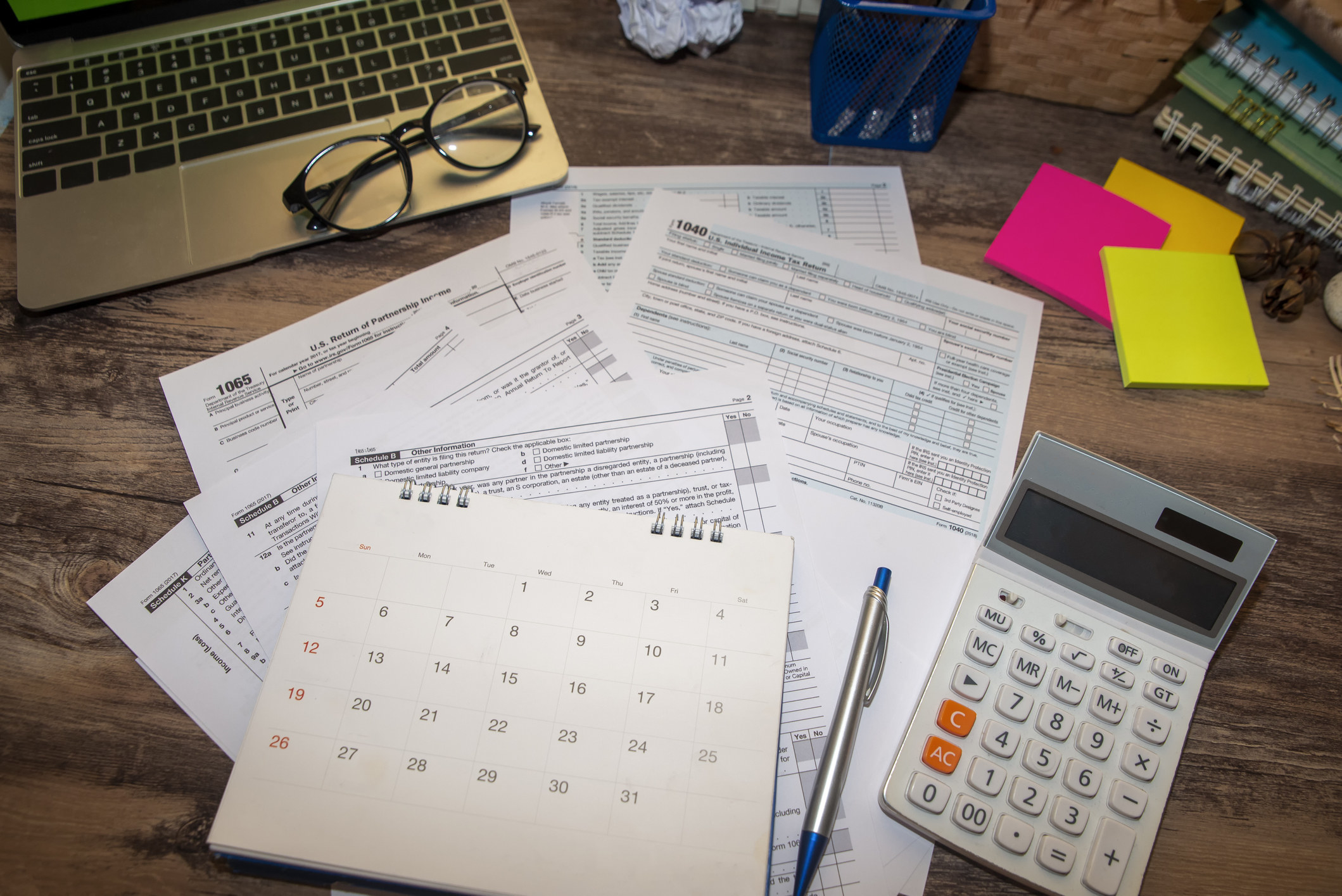 Tax papers on a table