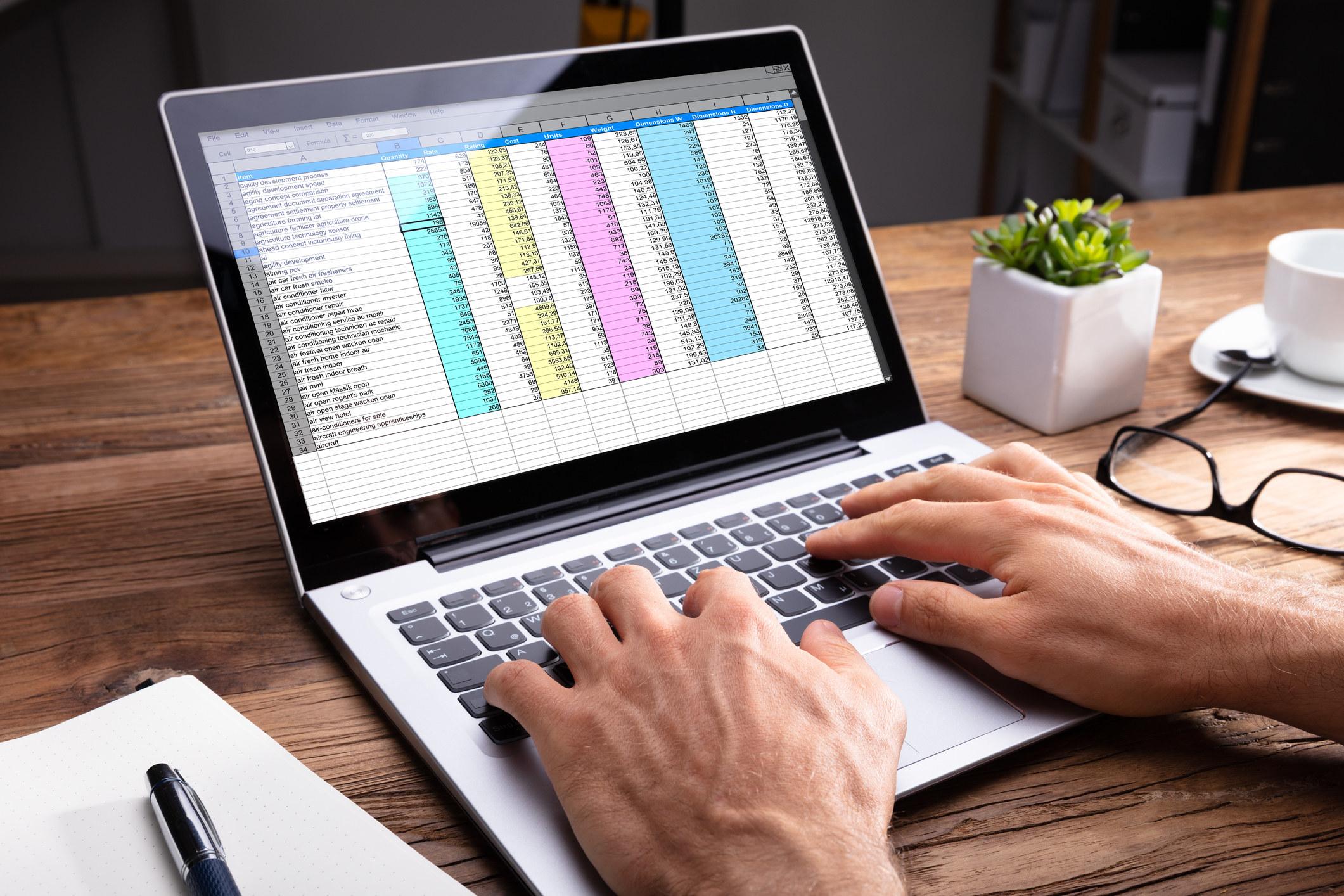 A spreadsheet on a laptop