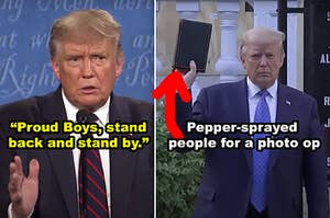 """并排侧特朗普在2020年辩论告诉白人至上主义者,以""""退后一步,站在一边,""""对特朗普的控股后圣经倒挂一个合影胡椒喷雾和平示威"""