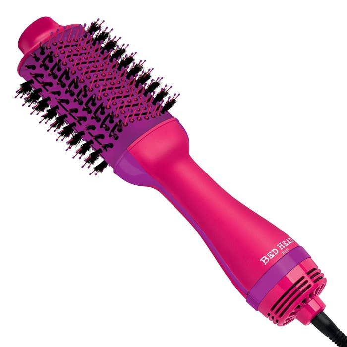 pink bedhead hot air brush with purple details