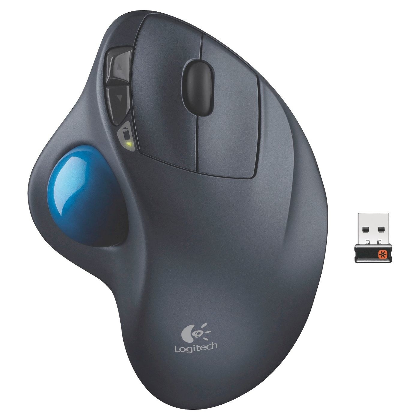 the black mouse with a blue trackball attached to the side