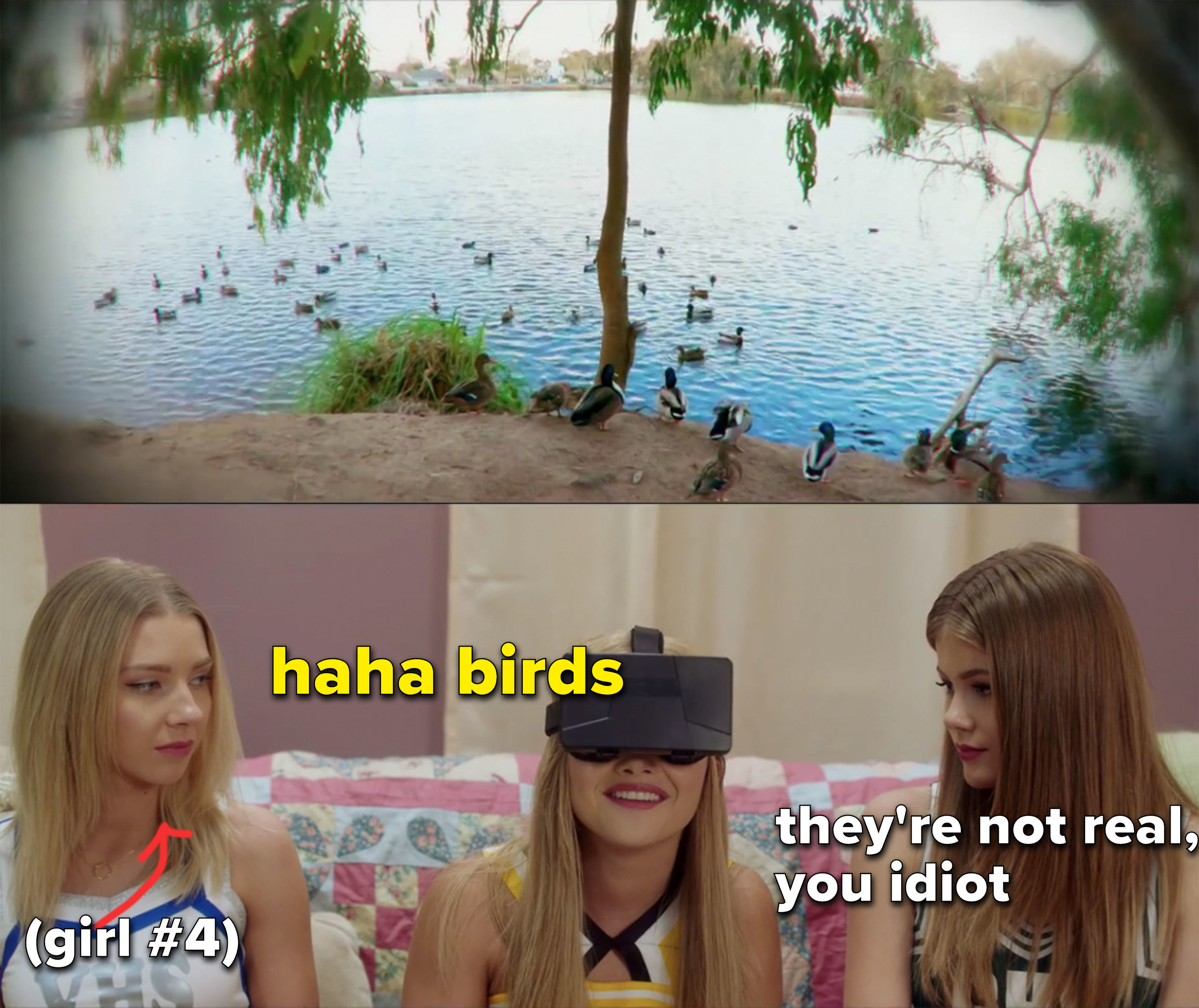 """Chelsea looking through VR googles and laughing, captioned, """"haha birds"""" and mean girl next to her captioned, """"they're not real you idiot"""""""