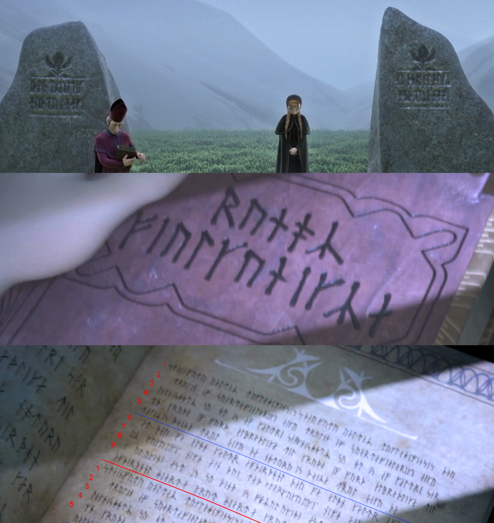 Norse runes depicted on tombstones and in a magic b