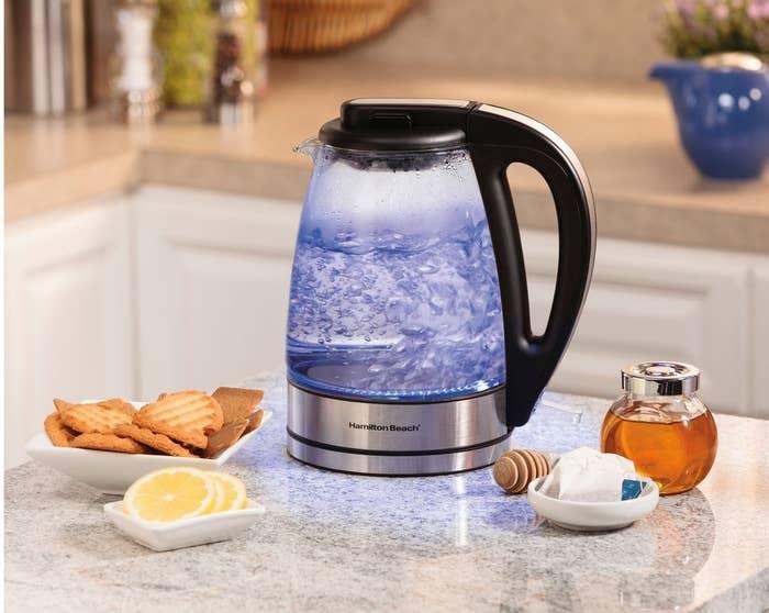 hamilton beach electric tea kettle with a blue light