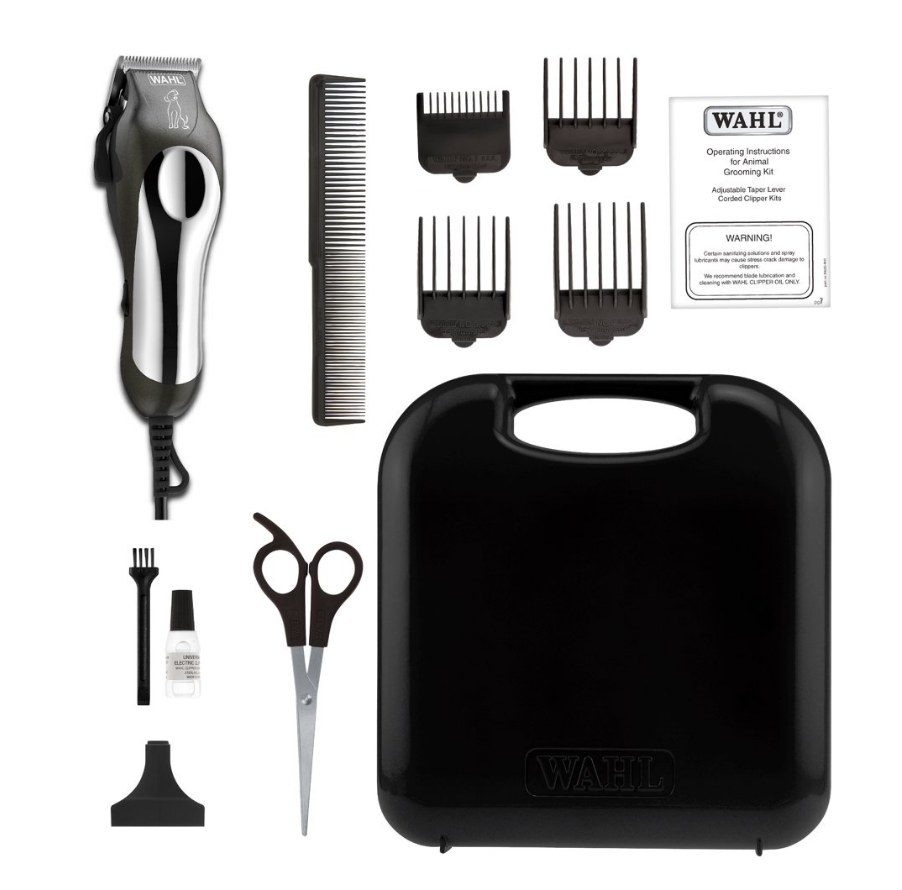 the black and stainless steel grooming tools and black carrying case