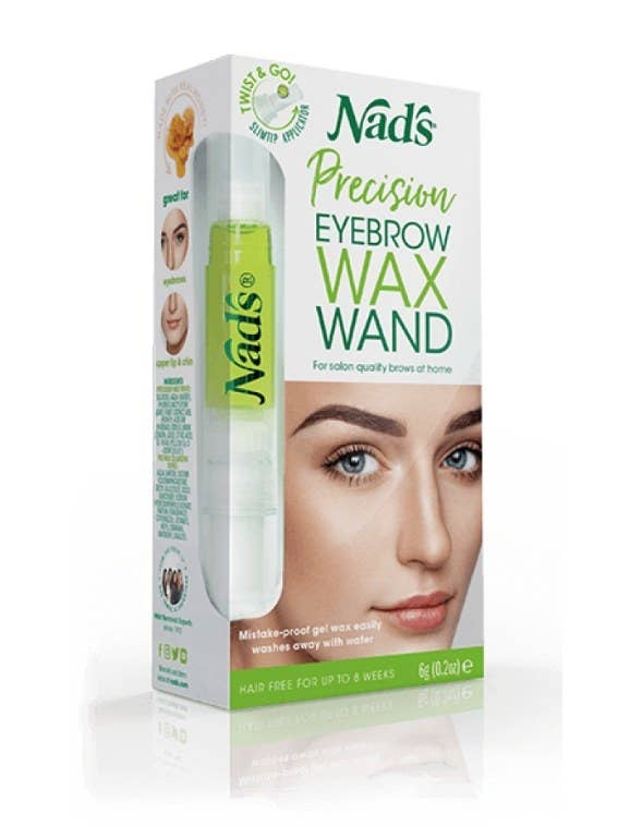 Box for eyebrow wax wand kit with woman's face on cover next to green wax pen image and green logo for Nad's