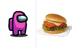 A robot with a glass mask over its eyes next to a chicken sandwich