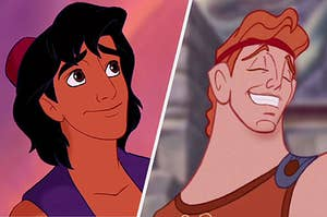 Hercules and Aladdin smiling cutely