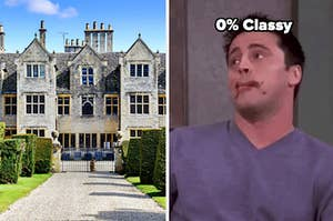 A castle and a 0% classy label over joey from friends