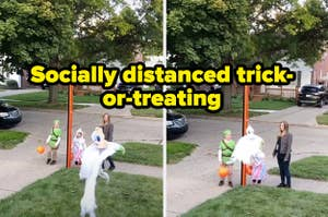 Trick-or-treaters receiving candy for a ghost shot down from the house on a clothing line with the text